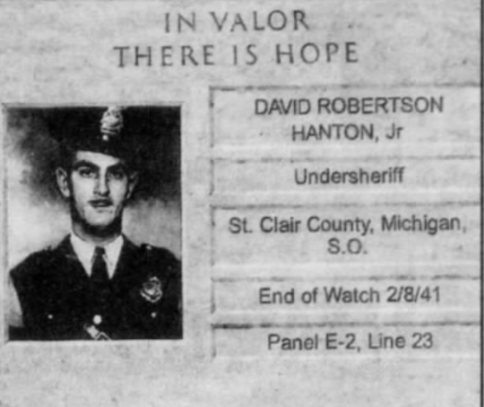 Undersheriff David R. Hanton Jr. was killed Feb. 8, 1941.