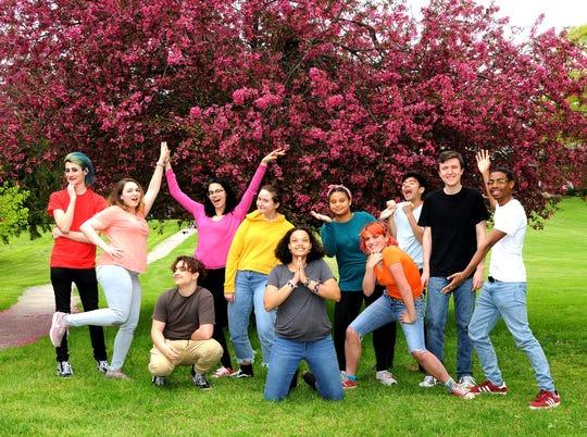 "The cast of ""Godspell"" at Oakwood Friends School includes, Alex Turk, left to right, Molly Doherty, Malcohm Condon, Isabella Kramb, Rachel Wapner-Mol, Willow Bennison, Bella Gedeon, Vera Rose Kilby, Thomas Sage Perkins, Elias Fredericks and Joseph Spence."
