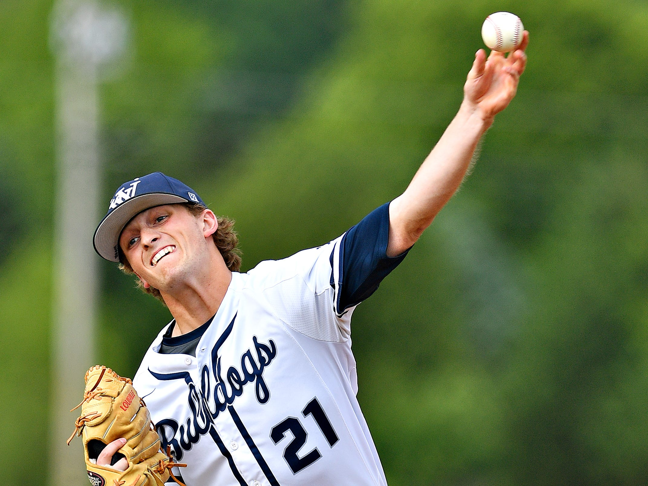 West York's Justin Wetzel pitches against Dallastown during baseball semifinal action at Spring Grove Area High School in Jackson Township, Wednesday, May 15, 2019. Dallastown would win the game 12-0. Dawn J. Sagert photo