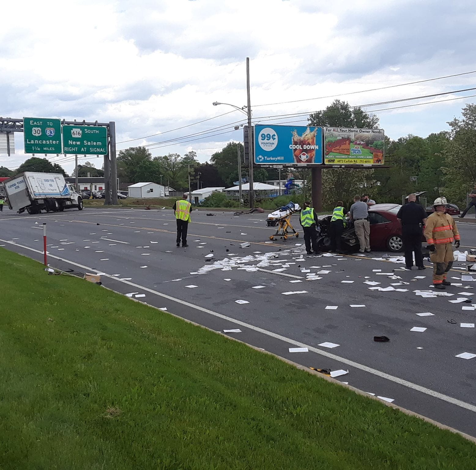 Route 30 closed after ice truck, car crash in West Manchester