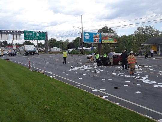 An ice truck and four door vehicle were involved in a crash in West Manchester Township on Wednesday, May 15, according to the York County 911