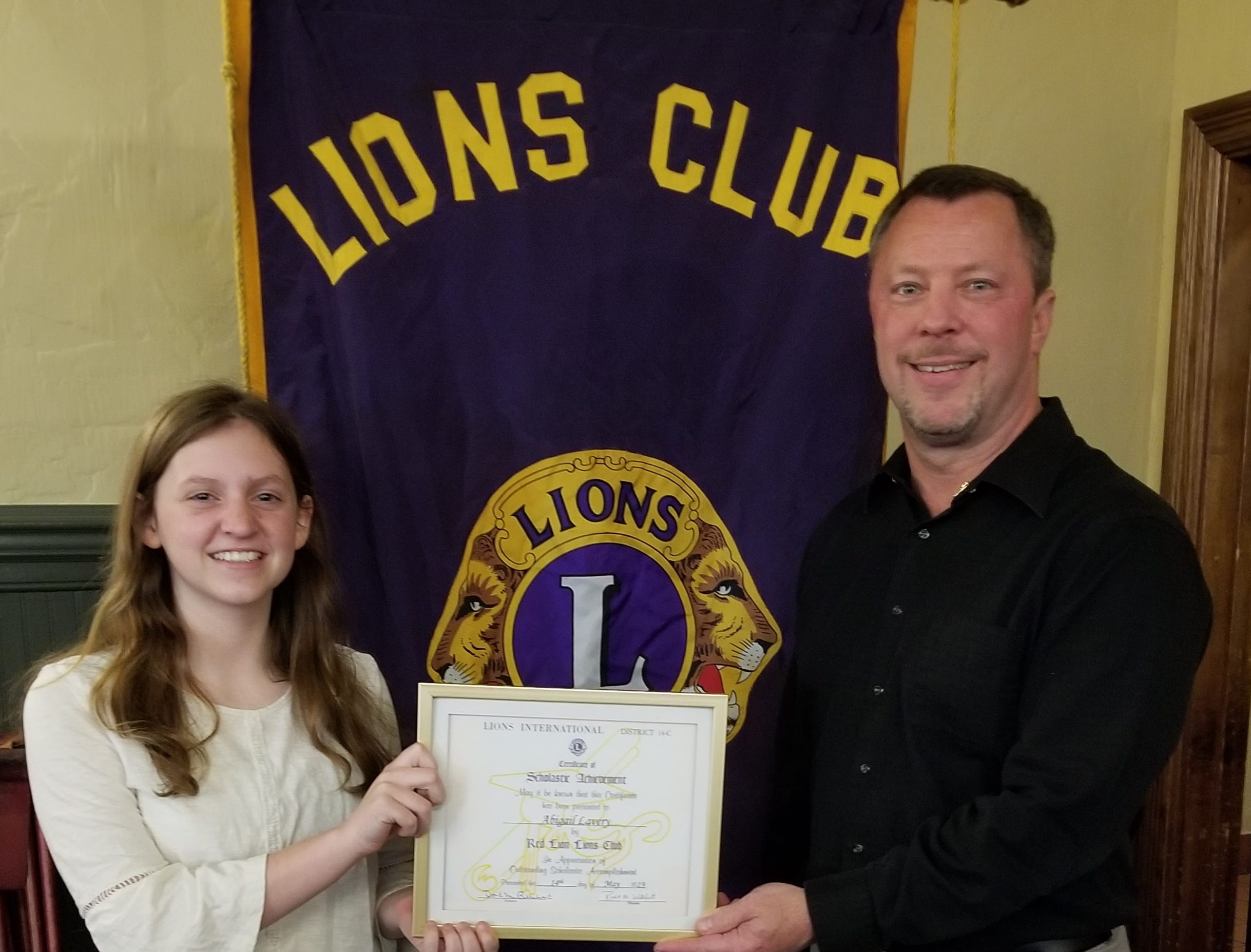 The Red Lion Lions Club is proud to recognize Abigail Lavery who was selected as the Red Lion Area Junior High School Student of the Month for April 2019. Pictured are Abigail Lavery and John H. Fishel, Co-Chairman of the Education Committee. submitted