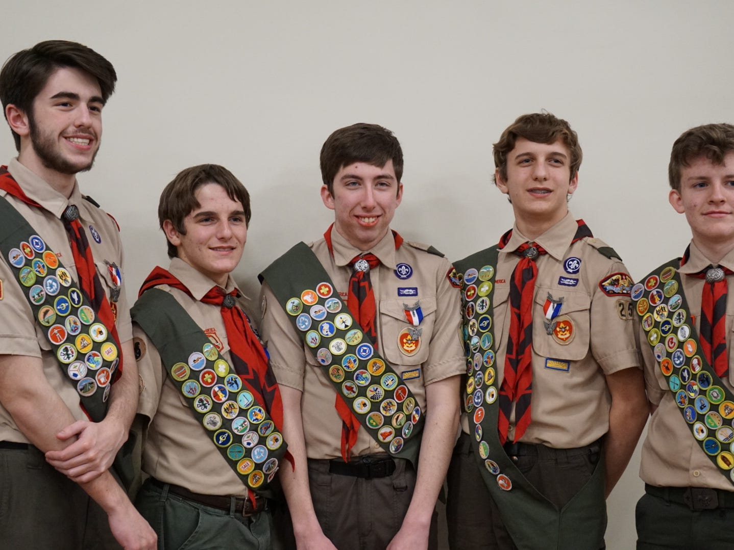 Five Scouts from local Troops have earned the highest award in Scouts BSA Ð the Eagle Scout Award. Wesley Bonner, Gavin Bonner, Matthew Johnson, Ben Patterson, from Troop 25 in East York, and AJ Kalligonis from Troop 49 in Hellam all received their awards from Troop 25 Scoutmaster Perry Bevivino and Troop 49 Scoutmaster George Gayman during Troop 25Õs Court of Honor held on Tuesday, February 25. submitted