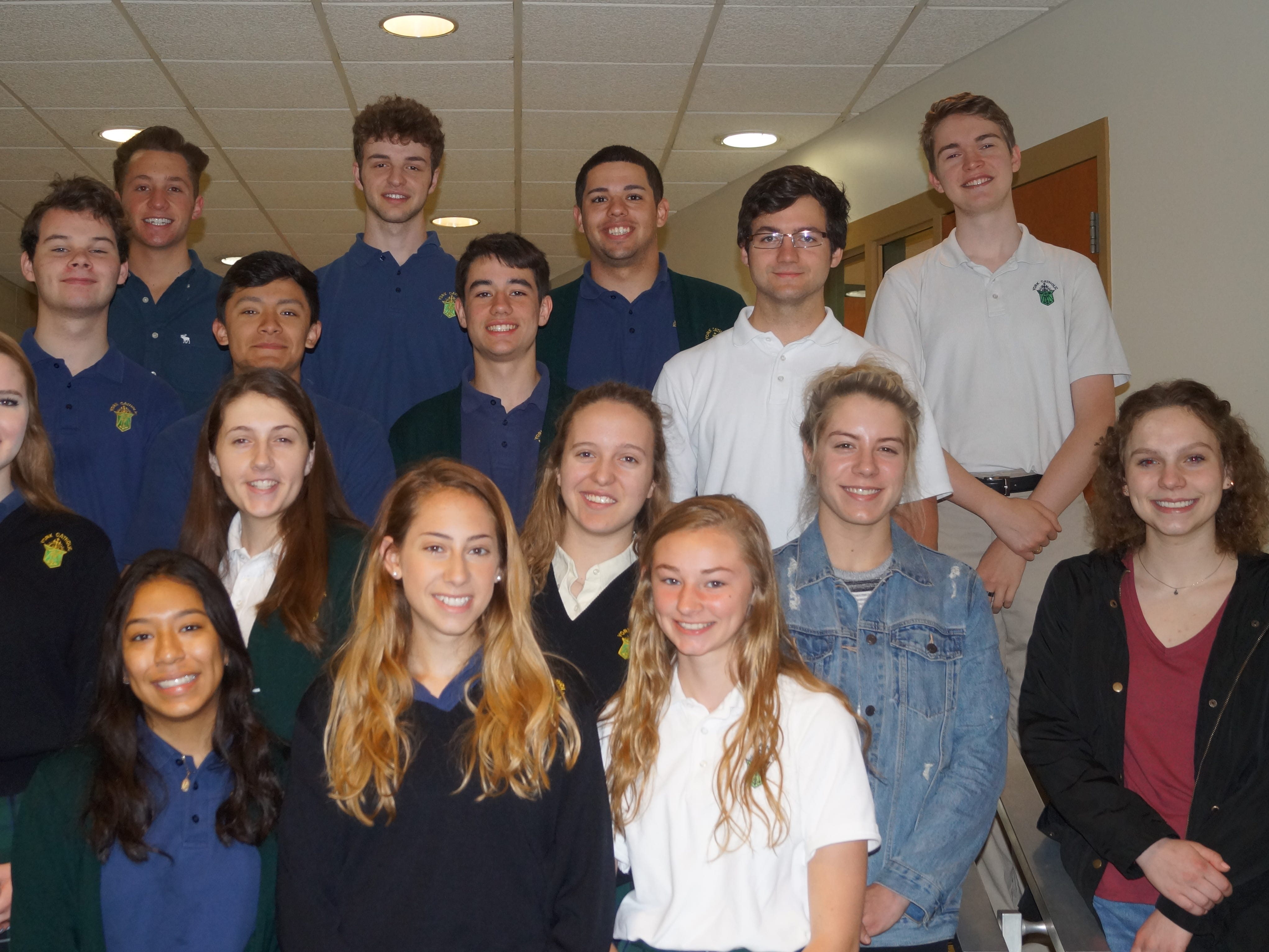 The following seniors were named to York Catholic High School's 2019 Prom Court. Pictured from left: Row 1:  Cindy Hernandez, Megan Daugherty, Kaylee Bandow. Row 2:  Lydia Fullerton, Anna Fraser, Renee Bonner, Sarah Reed, Claire Laux. Row 3:  Josh Dietrich, Manny Montes, Matthew Cassidy, Brice Leidy. Row 4:  Christian Thole, Sammy Trapeni, Jack Griffin, Tony Staub, Logan Corbin. Not pictured: Katy Rader. Christian Thole and Anna Fraser were announced as king and queen prior to the start of the Prom held at Wisehaven Hall. submitted