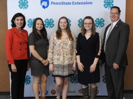 Local youth were among 117 4-Hers from across the state who met in Harrisburg recently for the annual Pennsylvania 4-H Capital Days program. Attending from York County were, from left, Abby Ross (York), Brenna Johnson (Airville), Kayla Henry (Spring Grove), who pose with Senator Kristin Phillips Hill and Representative Stan Saylor. submitted