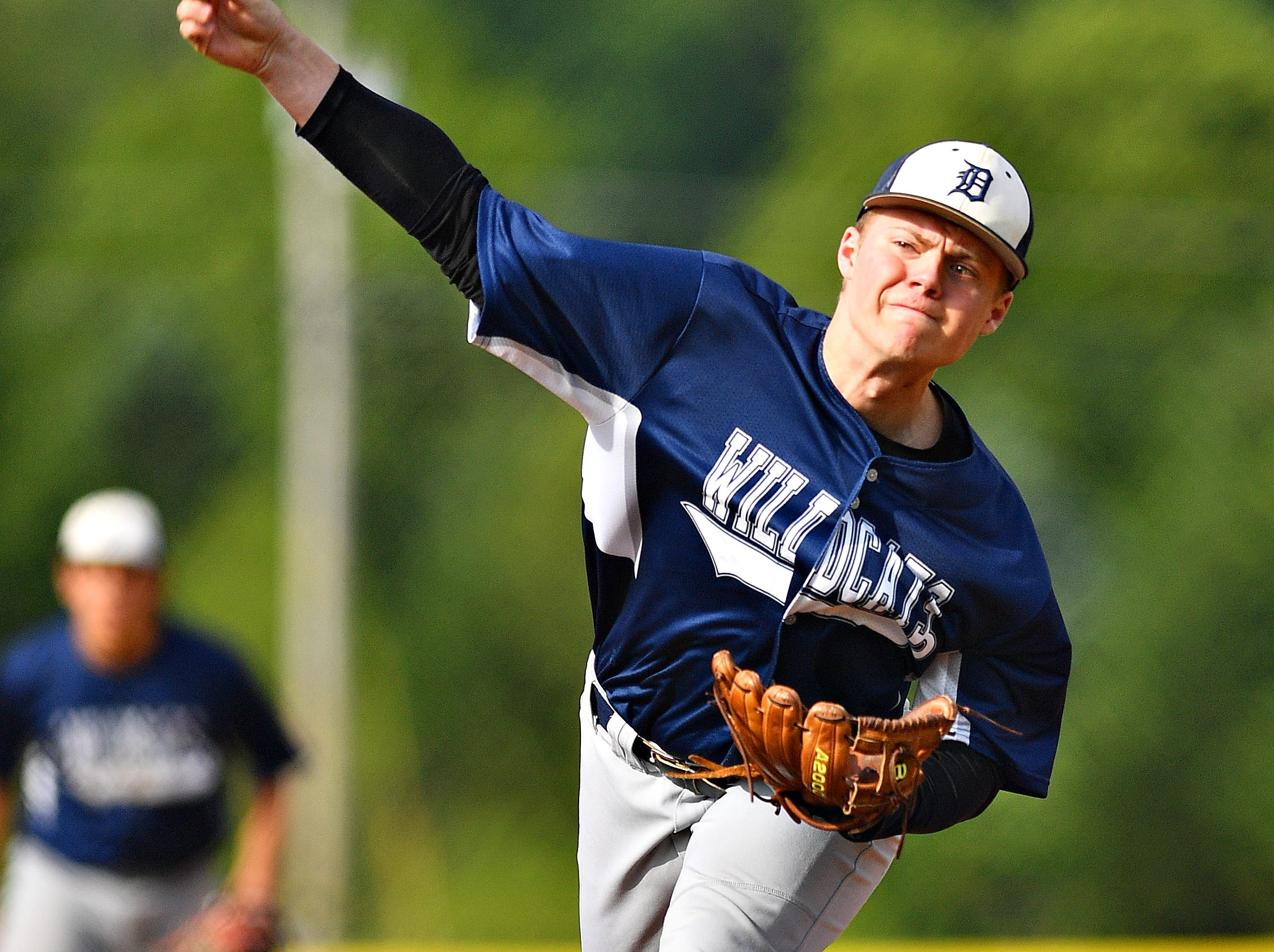 Dallastown's Alex Weakland pitches against  West York during baseball semifinal action at Spring Grove Area High School in Jackson Township, Wednesday, May 15, 2019. Dallastown would win the game 12-0. Dawn J. Sagert photo