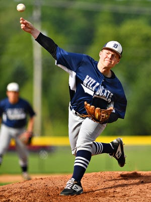 Alex Weakland, seen here pitching for Dallastown High School, has been a mainstay on the Dallastown American Legion team this summer.
