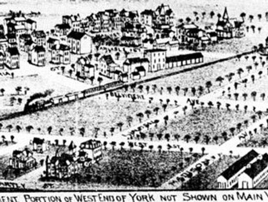 """This image, from the book """"Northwest York,"""" provides an early view of that neighborhood. The Avenues grew with the advent of the trolley, and it also had the advantage of rail service and three good roads – Roosevelt and Carlisle avenues and West Market Street."""