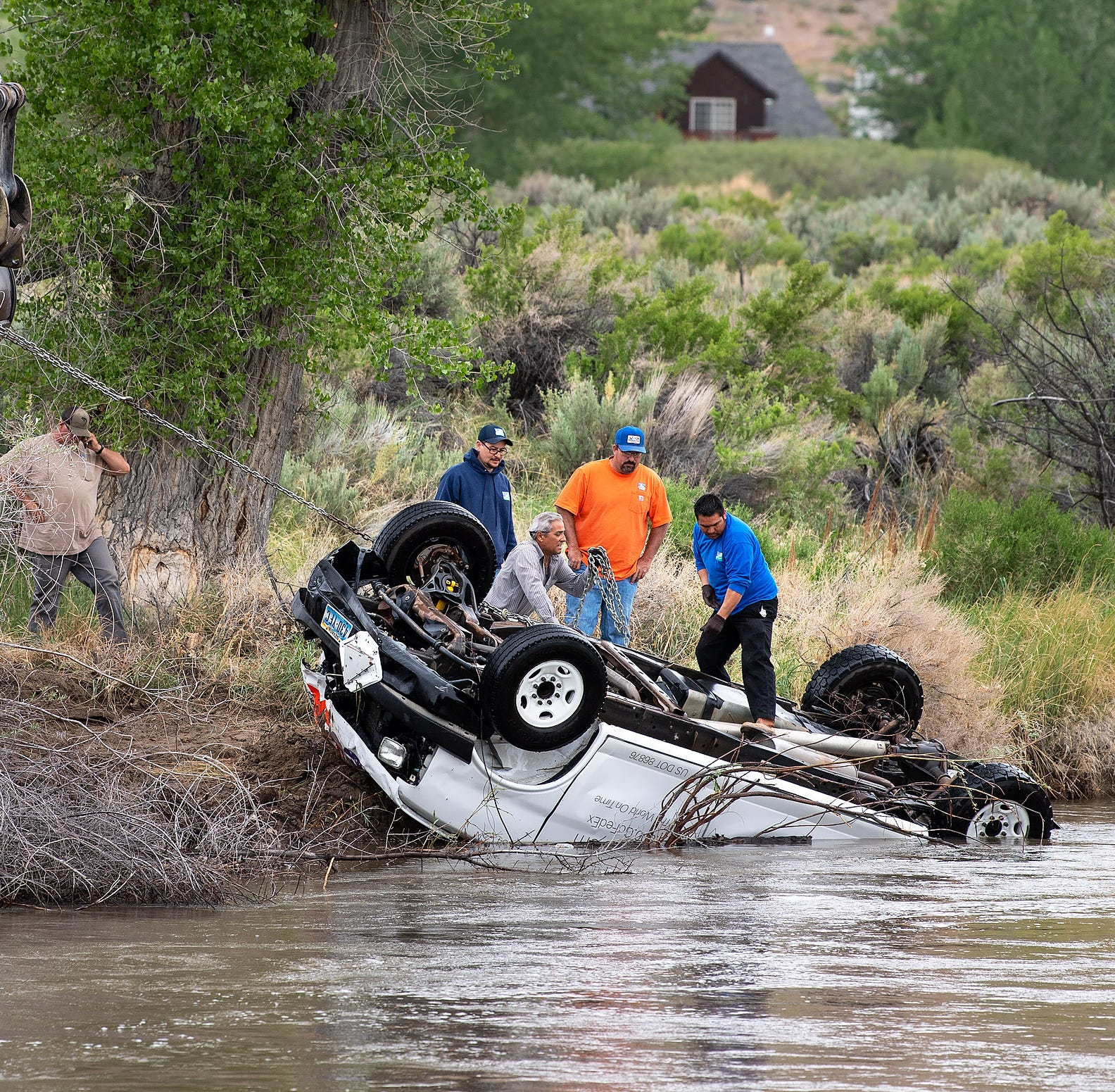 FedEx van extracted from Walker River south of Yerington
