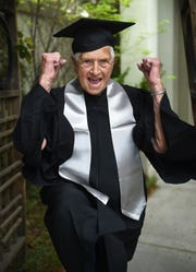 Dorismae Weber,90, poses for a portrait with her cap and gown a few days before walking to get her diploma she earned in 1974 at the University of Nevada, Reno on May 15, 2019.