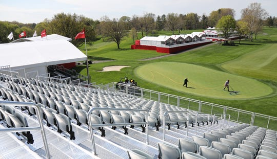 The 18th hole grandstand at Oak Hill for the 2019 Senior PGA.