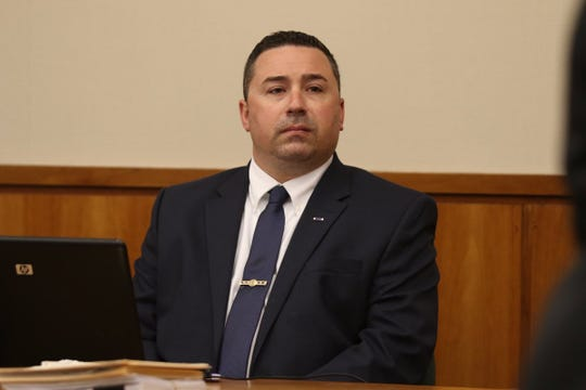 Rochester police officer Michael Sippel at the start of his bench trial in City Court on May 15, 2019. He's charged with third-degree assault.