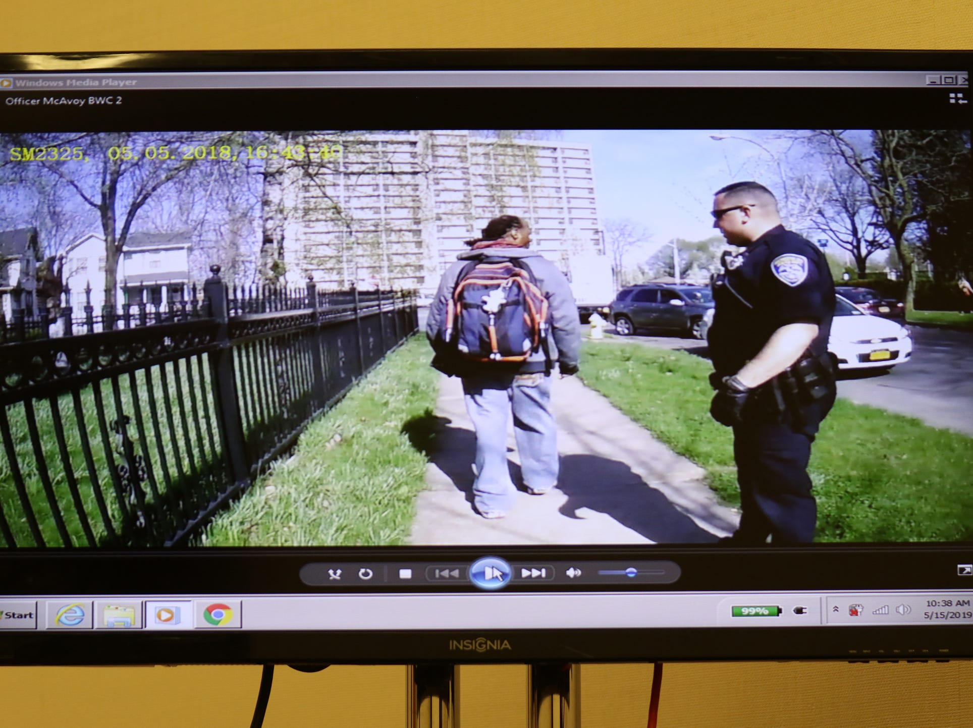Police body camera video showing Christopher Pate walking by Rochester Police Officer Michael Sippel.