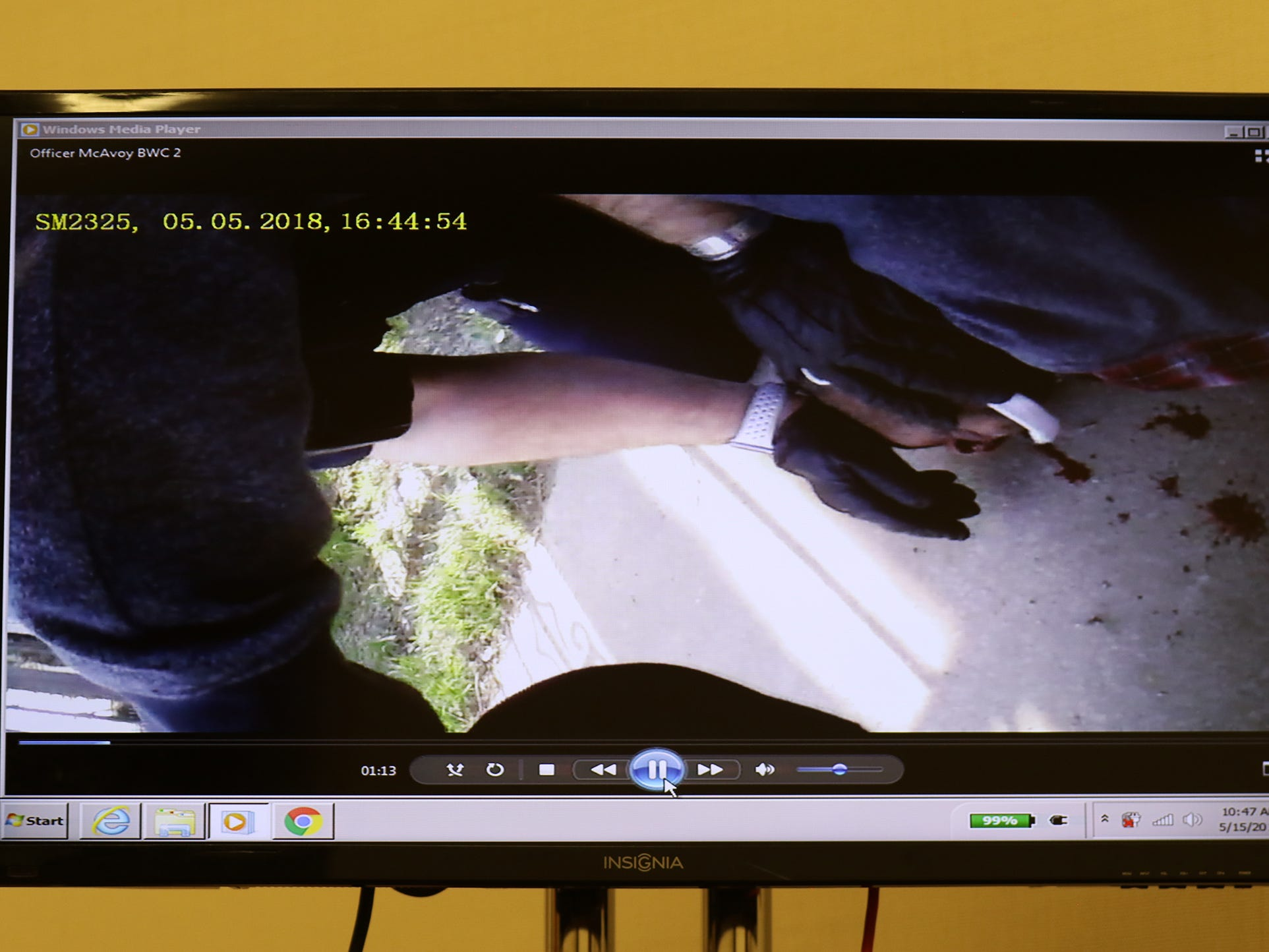 Rochester police video showing one of the officers holding Christopher Pate's head down on the ground while they try  to handcuff him.