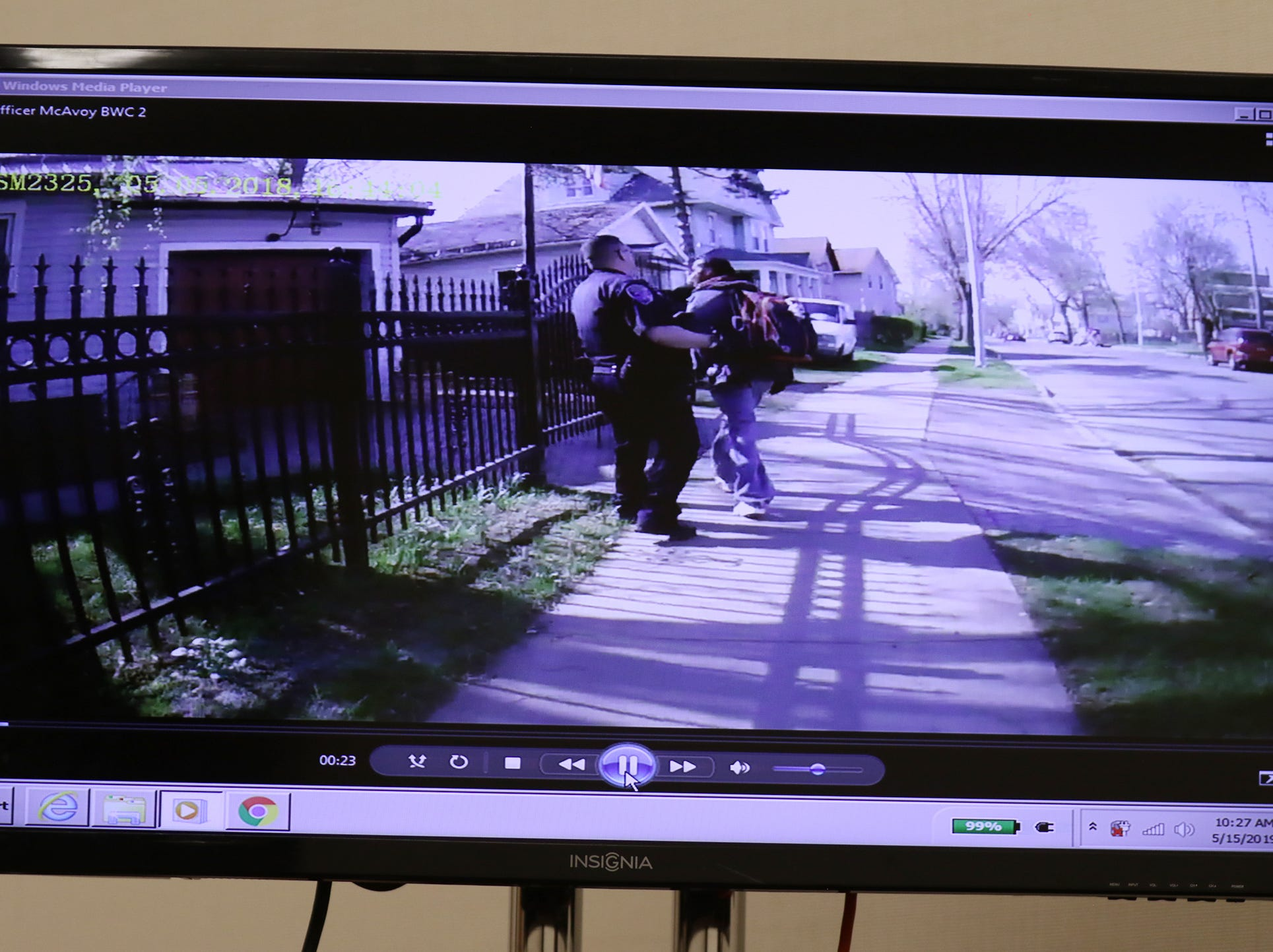 Rochester Police Officer Spenser McAvoy's body camera shows Officer Michael Sippel reaching out and stopping Christopher Pate.