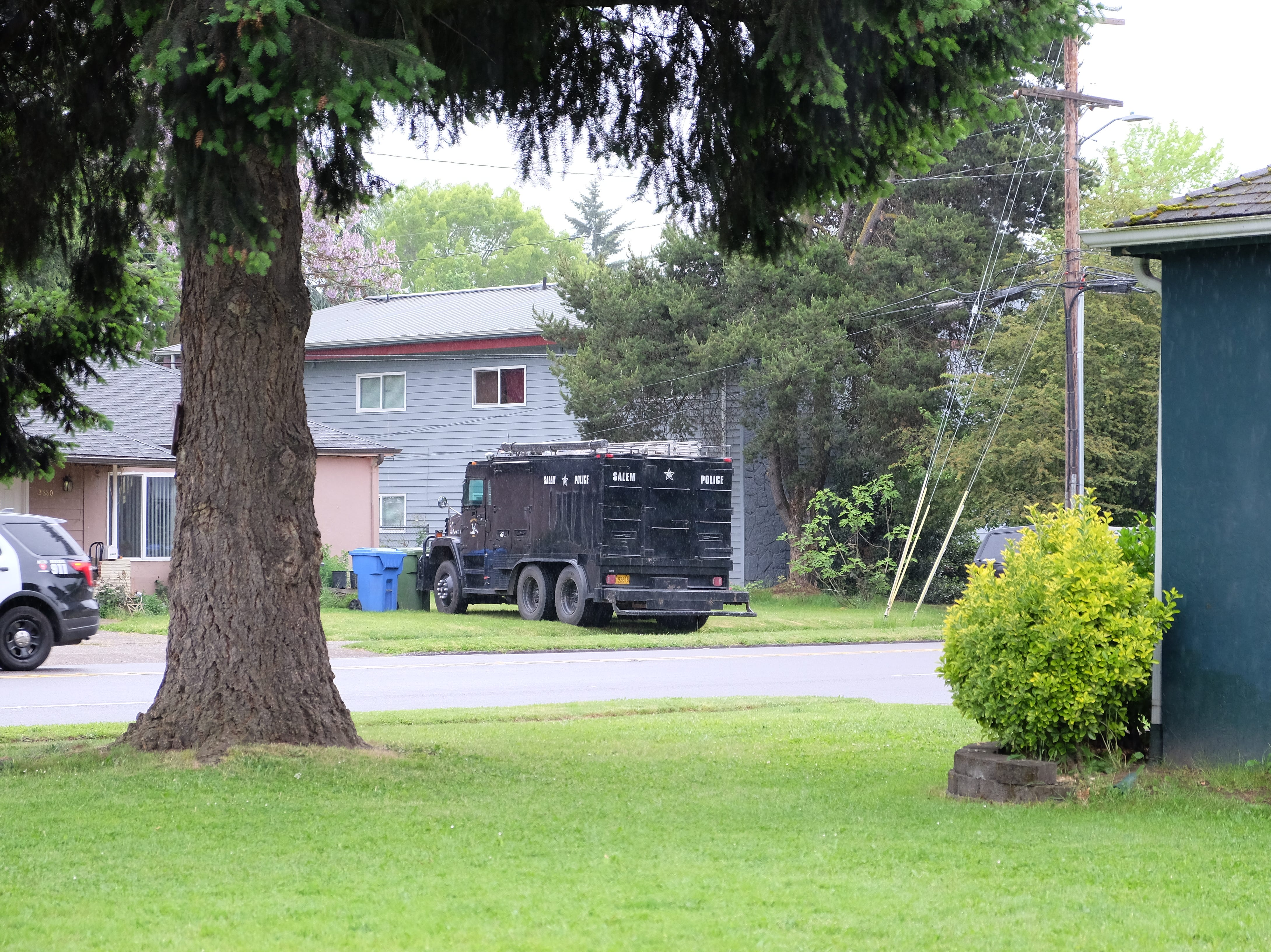 A Salem SWAT vehicle near an apartment complex in the 2500 block of Broadway where a suspect was taken into custody Wednesday morning, May 15, 2019.