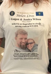 A shirt worn during the sentencing of a man accused of killing a Salem couple while driving drunk.