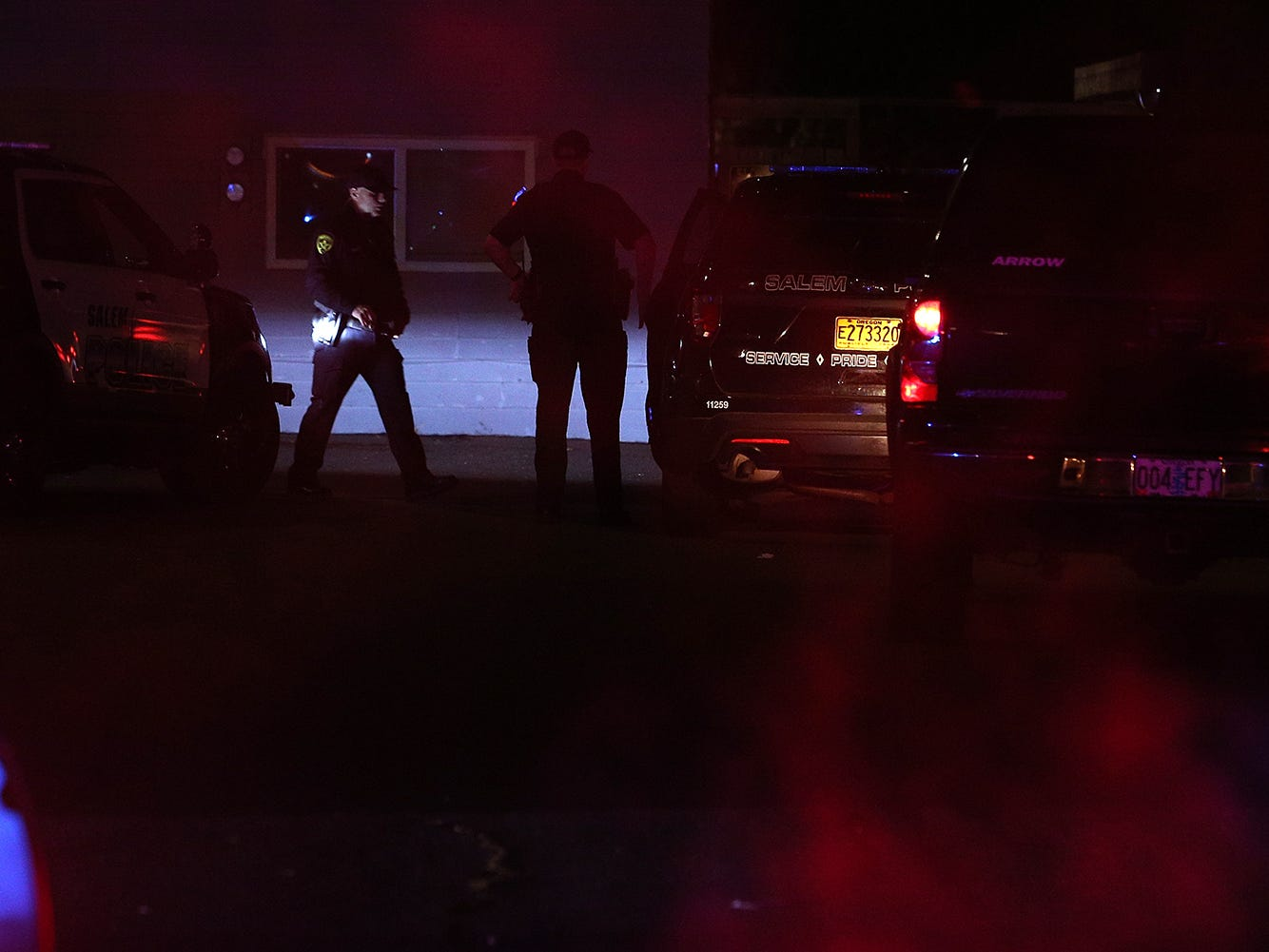 Salem police investigate after a Salem Police officer was shot during a traffic stop Tuesday evening.