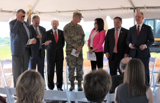 Officials who took the podium at a Bossier ground breaking ceremony May 15 for a new road.