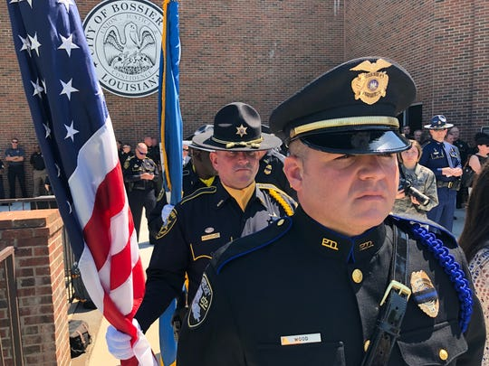 Law enforcement officers line up to present the colors during a Peace Officers Memorial Day Ceremony held at the Bossier Civic Center on May 15, 2019.