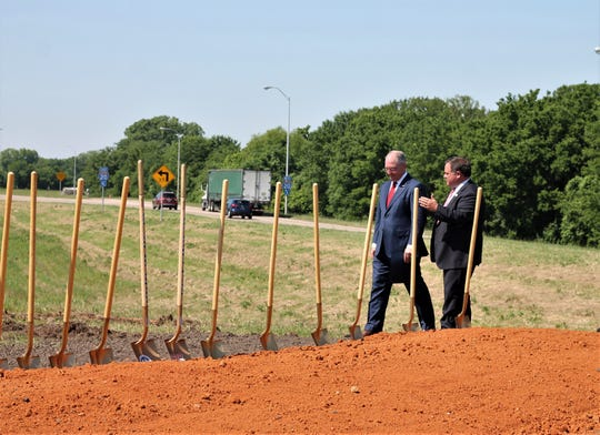 May 15, Governor Jon Bel Edwards and Senator Ryan Gatti in Bossier at a ceremony for the start of construction for a new road to Barksdale Air Force Base.