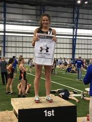 St. Mary runner Ella Heinitz won the 400 meter run in Brookings on April 1, 2019.