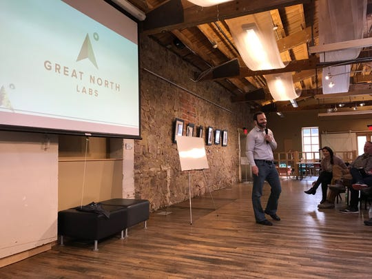 Ryan Weber of Great North Labs presents at  1 Million Cups Sioux Falls on April 3 at the Museum of Visual Materials in downtown Sioux Falls.