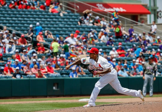 St. Louis Cardinals pitcher Carlos Martinez pitches during a rehab appearance with the Springfield Cardinals in their game against the Arkansas Travelers at Hammons Field on Wednesday, May 15, 2019.