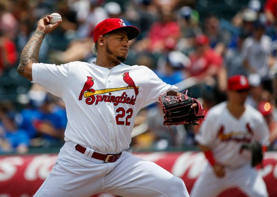 St. Louis Cardinals pitcher Carlos Martinez made a rehab appearance with the Springfield Cardinals in their game against the Arkansas Travelers at Hammons Field on Wednesday, May 15, 2019.