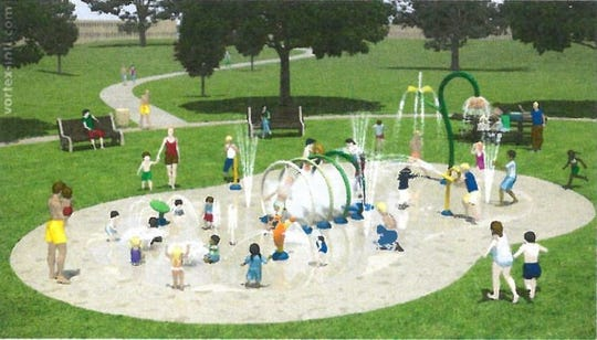 A drawing shows a splash pad proposed for Watab Creek Park in Sartell to replace the existing wading pool.