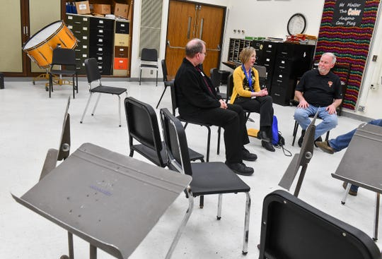 Retiring high school music directors Scott Campbell, Dianne Brady and Gary Zwack look back on their careers during an interview Tuesday, May 7, in St. Cloud.