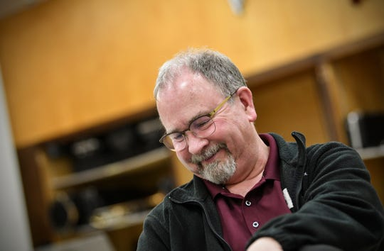 Sauk Rapids-Rice High School music director Scott Campbell reflects on his 28-year career during an interview Tuesday, May 7, in St. Cloud.