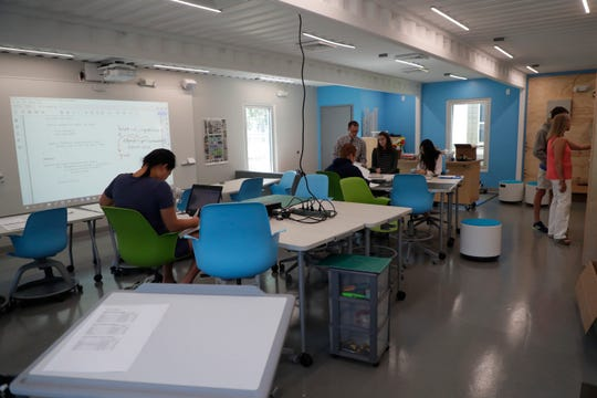 The computer science, robotics and engineering classroom is one of three classrooms made from recycled shipping containers in the new Beck Family Research Center on the Maclay School campus Wednesday, May 15, 2019.