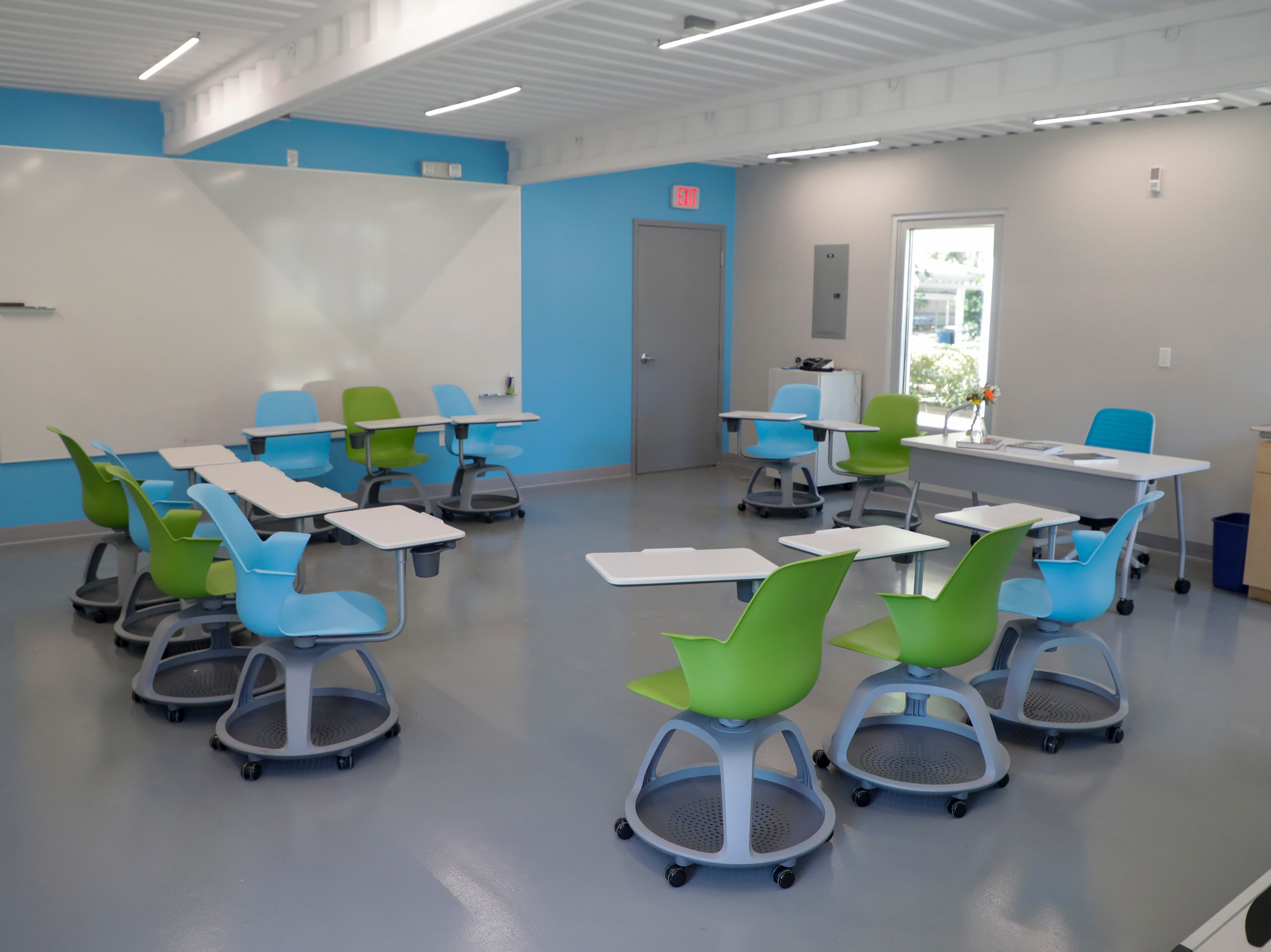 The Marie E. Krafft biomedical research lab is one of three classrooms made from recycled shipping containers in the new Beck Family Research Center on the Maclay School campus Wednesday, May 15, 2019.