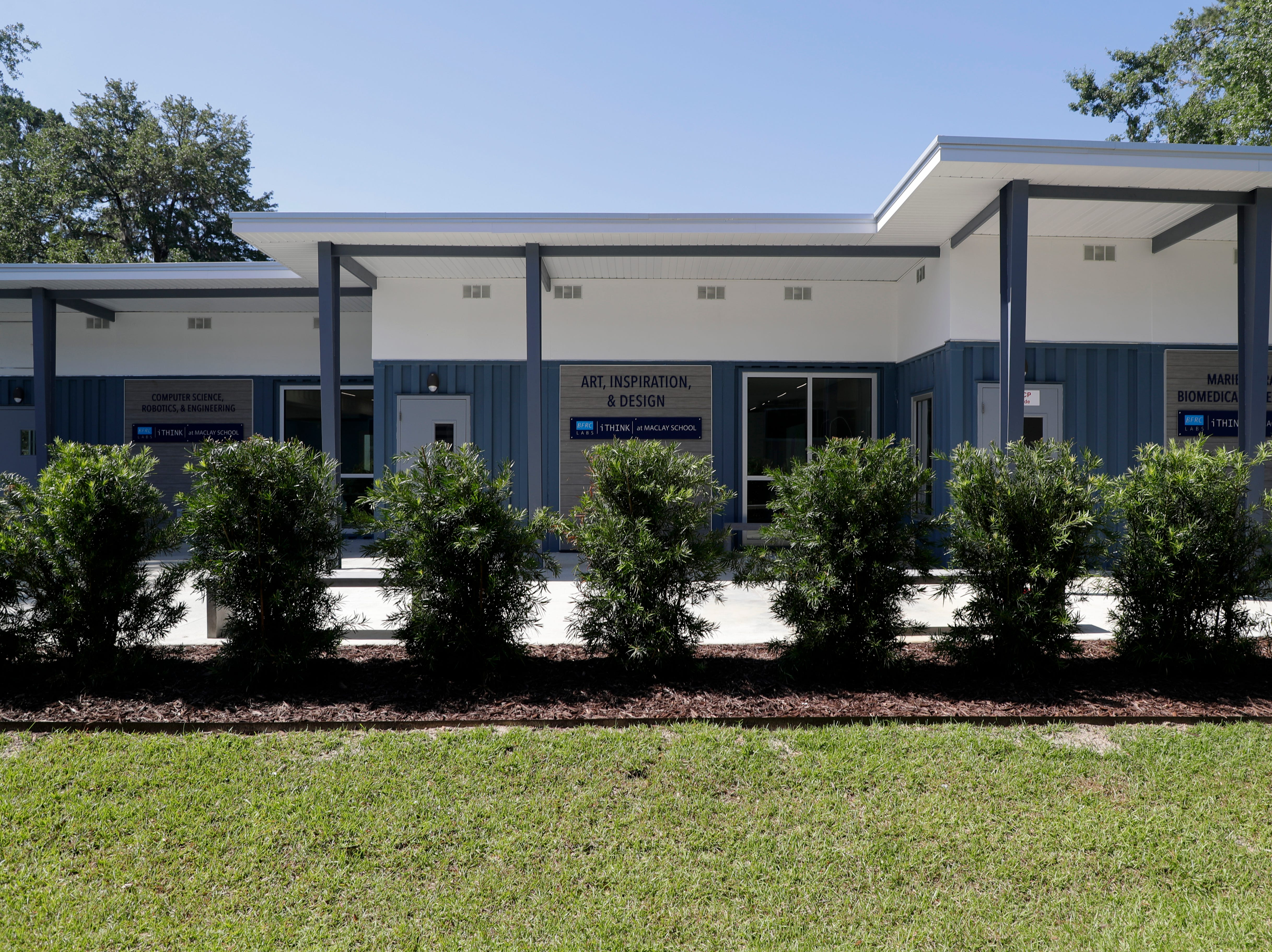 Maclay School recently opened their new Beck Family Research Center, a group of three classrooms built from recycled shipping containers.
