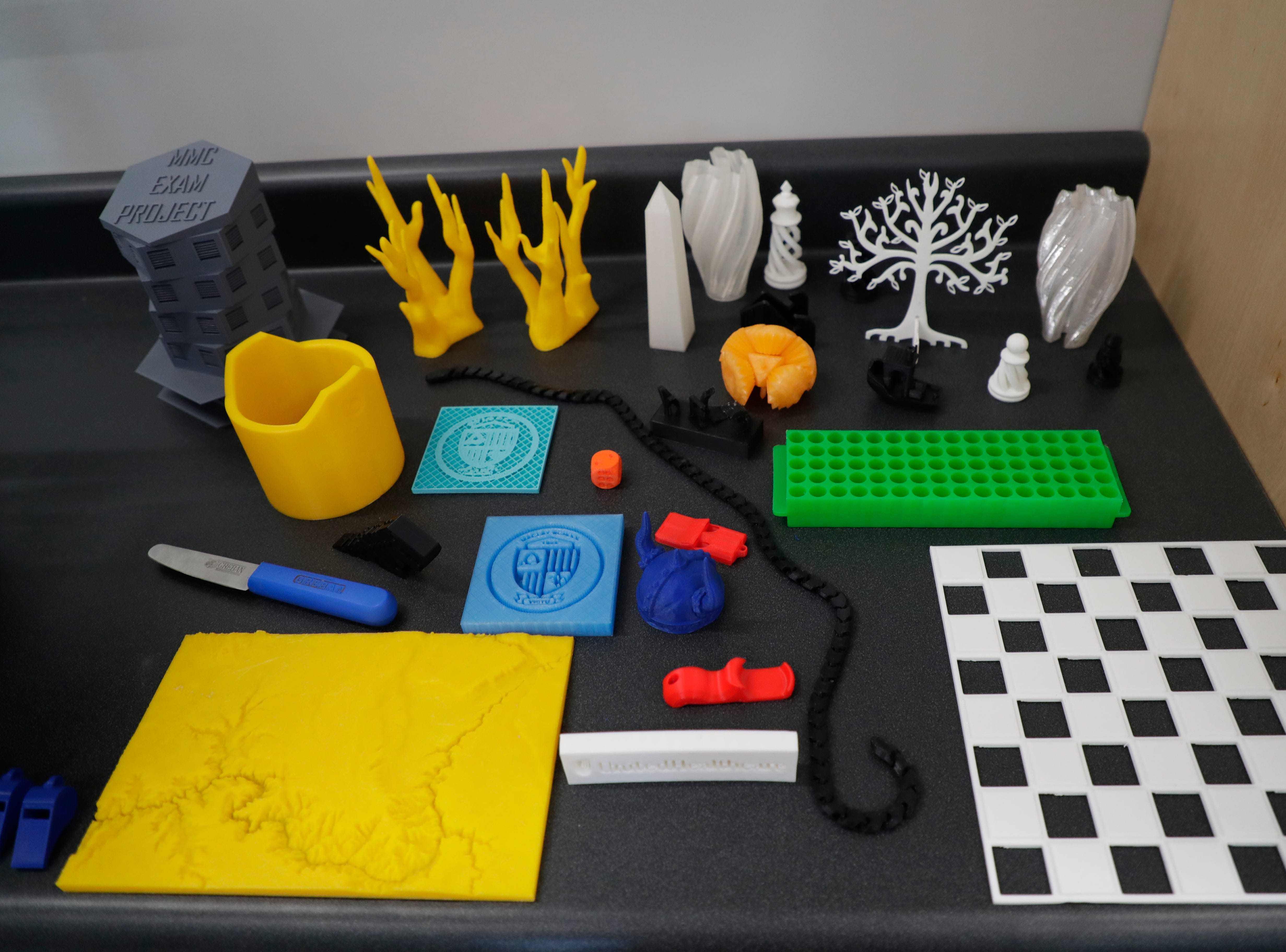 3-D printed creations made by students in Maclay's I Innovate class are displayed in the computer science, robotics and engineering classroom, one of three classrooms in the new Beck Family Research Center on the Maclay School campus Wednesday, May 15, 2019.