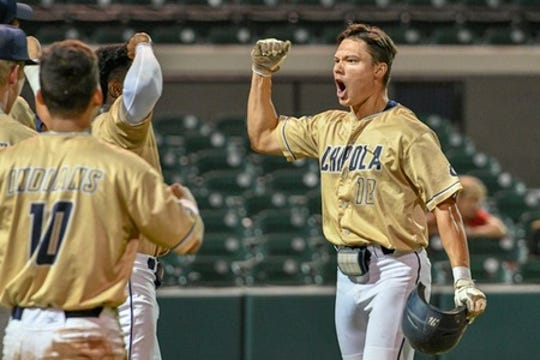 Chipola College celebrates a win in the FCSAA state tournament.