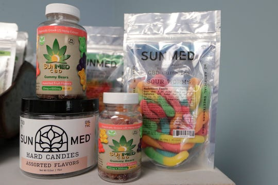 CBD infused gummies and hard candies on display at Your CBD Store Tallahassee Wednesday, May 15, 2019.
