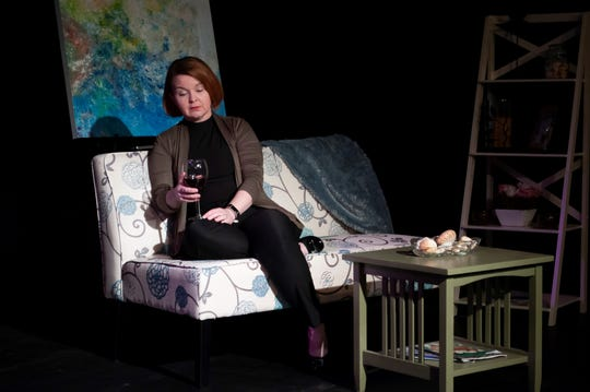 """Theresa Prow Davis plays Candy in the original play """"12 Steps to Somewhere"""" at Theatre Tallahassee."""