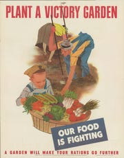 A poster created in 1943 by the United States Office of War Information to encourage families to grow their own vegetables in victory gardens to help with the war effort.