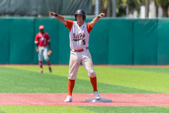 FAMU catcher Bret Maxwell went 2 for 2 with 2 RBI against Delaware State in a 13-3 first-round victory during the MEAC Baseball Championship at Jackie Robinson Ballpark in Daytona Beach.
