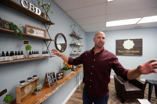 Joshua Crum, owner of Your CBD Store Tallahassee, talks about the different CBD products that he sells Wednesday, May 15, 2019.