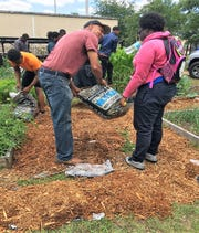 UF/IFAS and FAMU Extension agent, Trevor Hylton, helping students at Florida A&M University Developmental Research School build their garden.