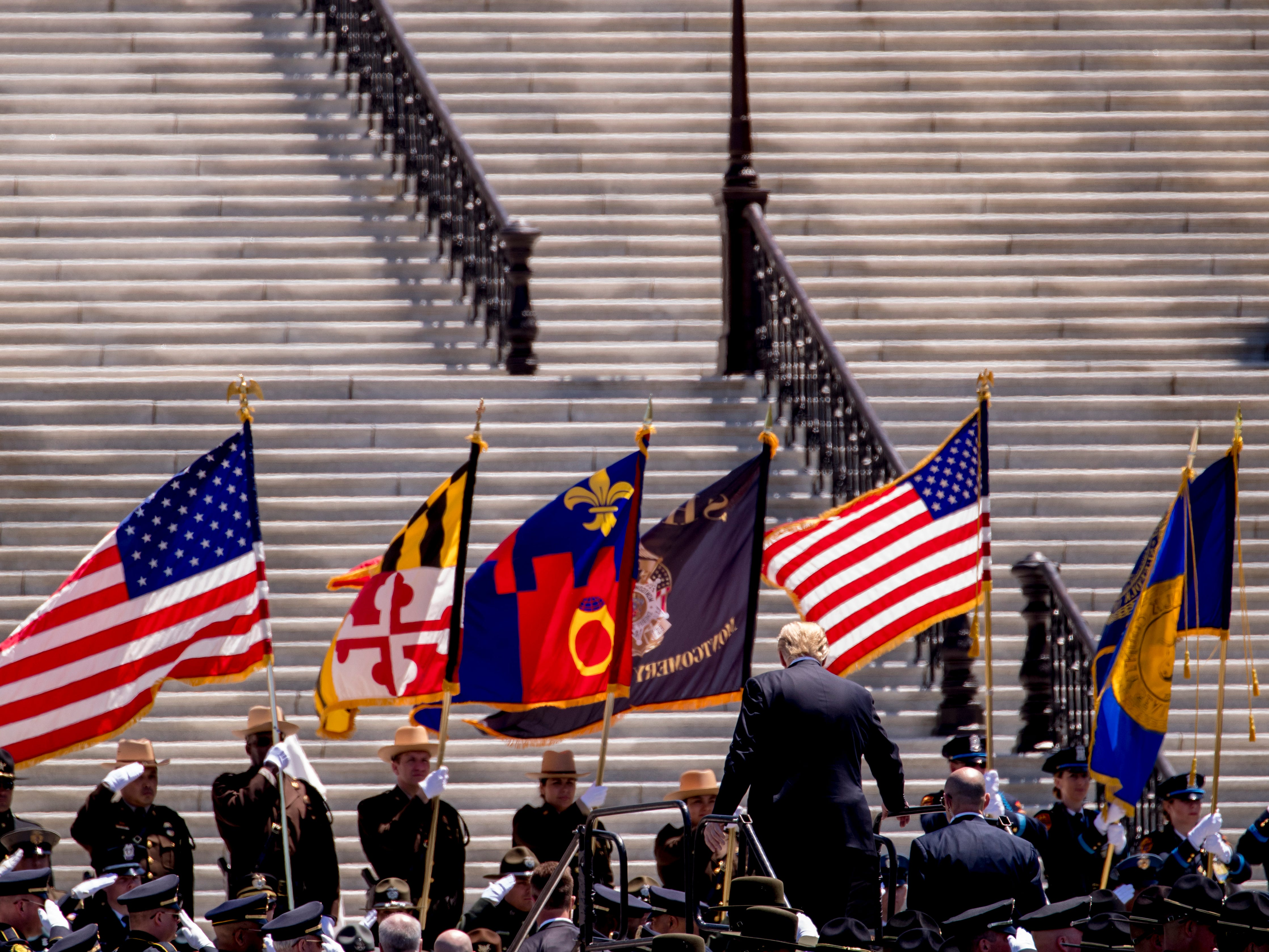 President Donald Trump departs after speaking at the 38th Annual National Peace Officers Memorial Service on the West Lawn of the Capitol Building, Wednesday, May 15, 2019, in Washington.