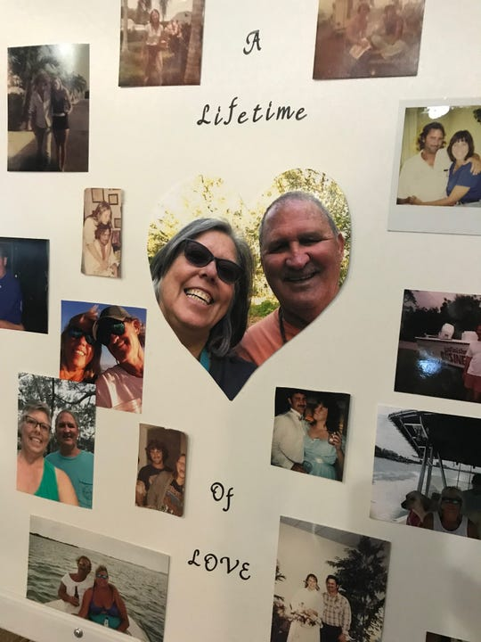 A photo of Cindy Collins and her late husband Lee on the camping trip where he was sick with Hepatitis A adorns a collage created by a neighbor after Lee died.