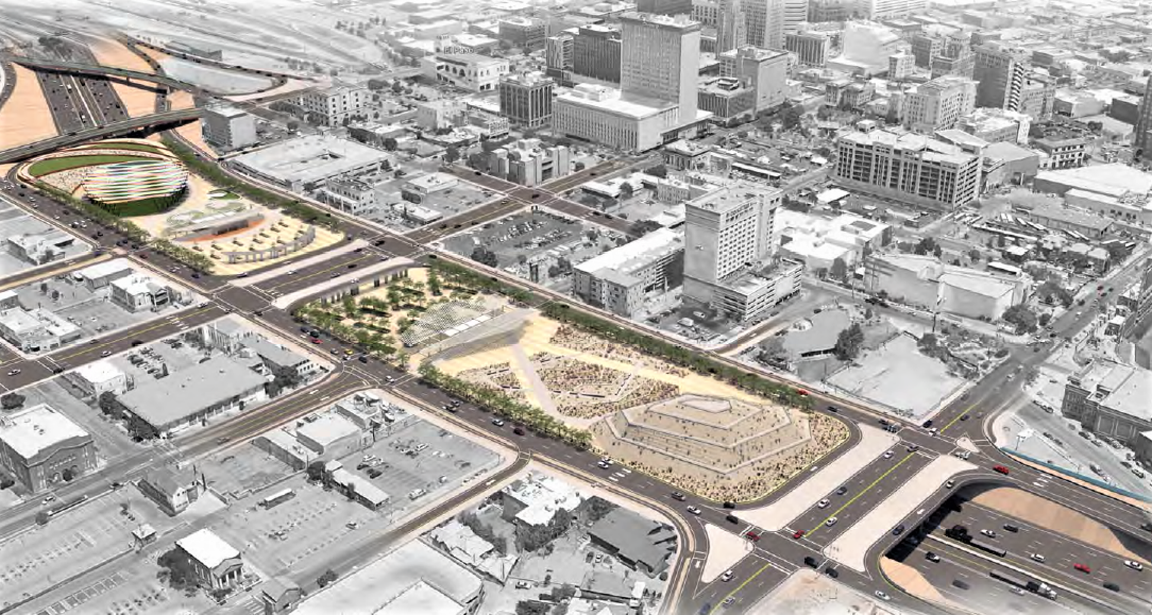 A park or parks would be built atop bridge decks above an expanded and rebuilt Interstate 10 through the middle of Downtown under concepts being studied by state highway planners.