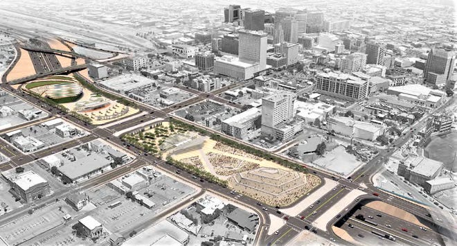 A park or parks would be built on bridge decks above a proposed expansion of Interstate 10 under concepts now being studied by Texas Department of Transportation planners.