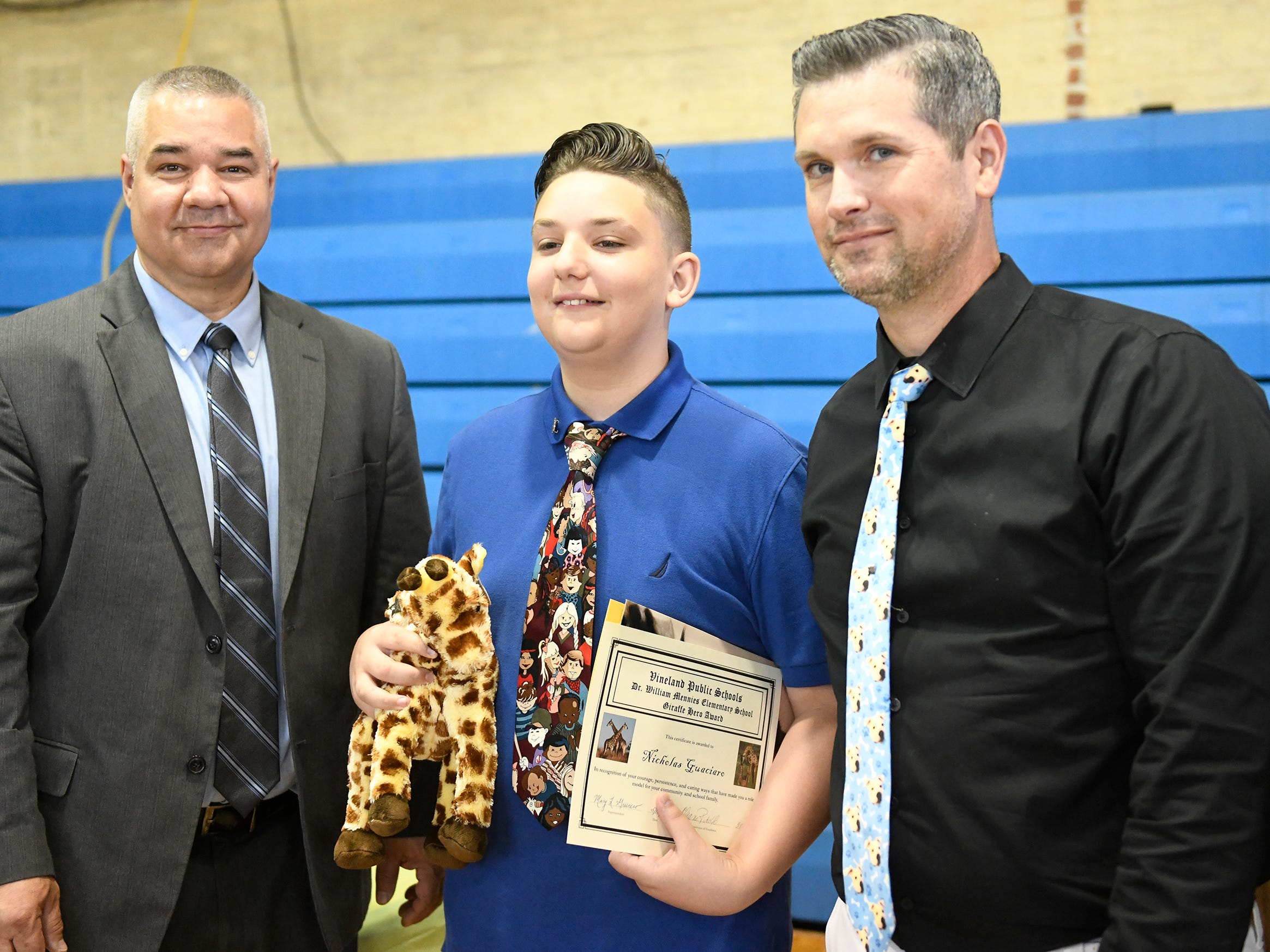 Mennies Elementary School student Nicholas Guaciaro was presented with a Giraffe Hero Award during a special ceremony on Wednesday, May 15, 2019.