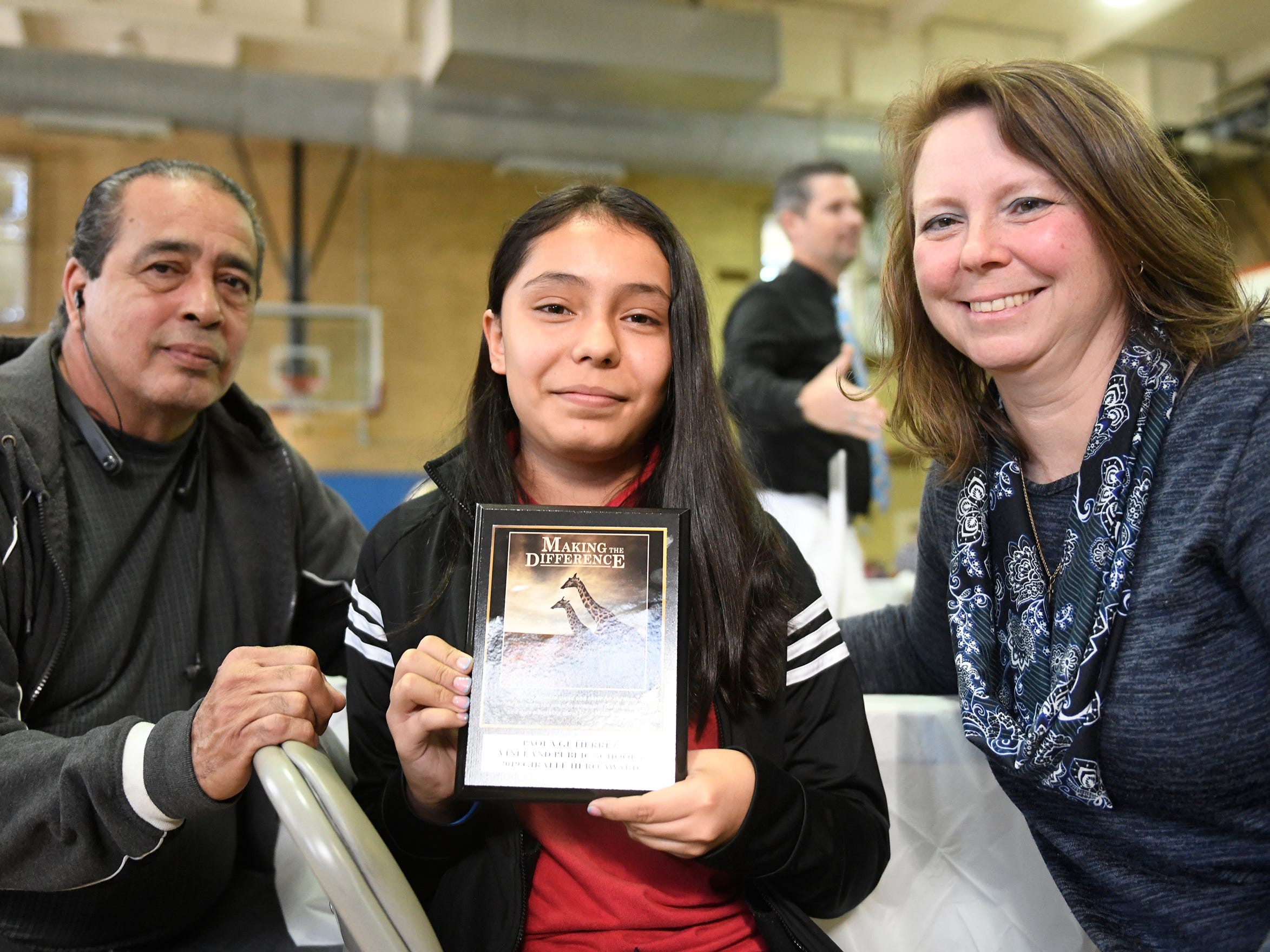 Sgt. Dominick Pilla Middle School student Paola Gutierrez was presented with a Giraffe Hero Award during a special ceremony on Wednesday, May 15, 2019.
