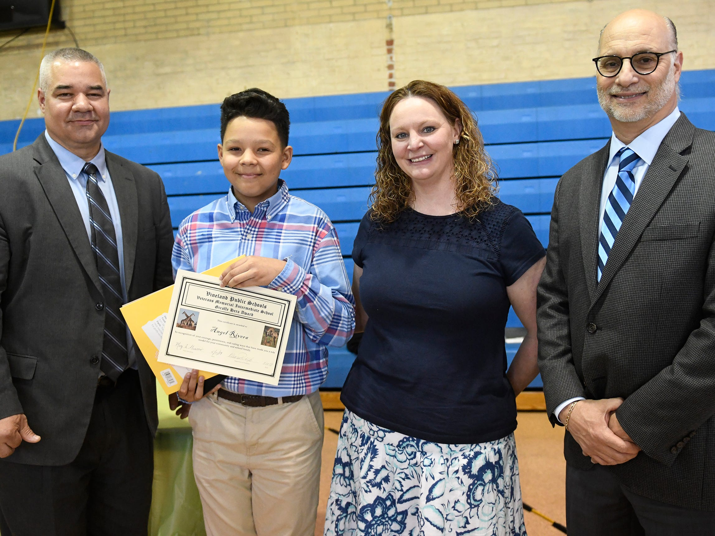 Veterans Memorial School student Angel Rivera was presented with a Giraffe Hero Award during a special ceremony on Wednesday, May 15, 2019.